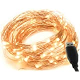 MSC - 33 ft / 10M - 100 * LED USB Powered Warm White Coloured String Fairy Lights On Copper Cable, Ideal for Christmas, Xmas, Party Wedding Decoration Indoor Warm-USB1