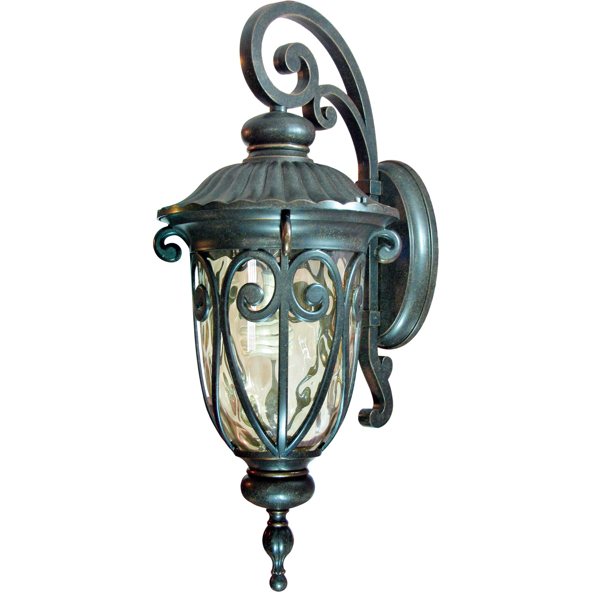 Yosemite Home Decor FL519LDORB Viviana 1-Light Fluorescent Exterior Wall Sconce with Gold Stone Shade by Yosemite Home Decor