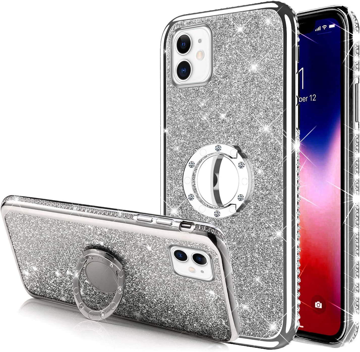 ikasus Case for iPhone 11 Glitter Case,Sparkly Glitter Bling Diamond Rhinestone Bumper with Ring Kickstand Flexible Soft Rubber Gel TPU Protective Case Cover for iPhone 11 Case for Girl Women,Silver