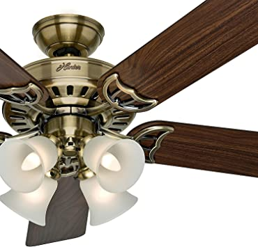 Hunter Fan 52 Inch White Ceiling Fan With A Frosted Glass Light Kit 5 Blade Renewed Antique Brass Amazon Com