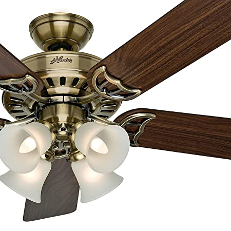 Hunter Fan 52 inch White Ceiling Fan with a Frosted Glass Light Kit, 5 Blade Renewed Antique Brass