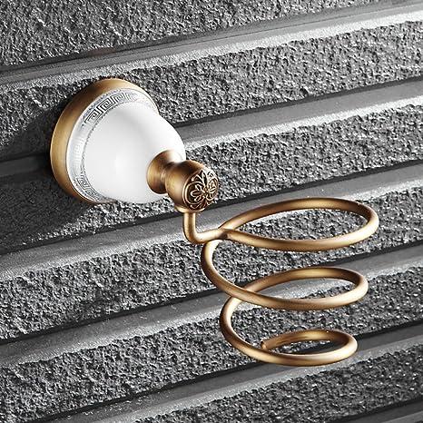 ZXY Soporte de Pared Soporte para secador de Pelo Retro para baño Porta Tubos de Viento
