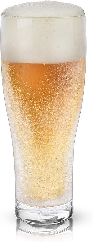 Viski 7334-Glacier Double-Walled Glass Beer Chilling Drinkware, 16oz, Clear