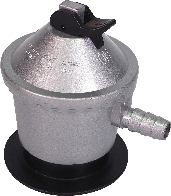 Sanfor Regulador Bombona Gas butano de 12 kg de uso doméstico | Homologado (UNE-EN12864) | Color Plateado | Talla única