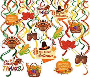 Konsait 30 Count Thanksgiving Swirl Hanging Decoration, Pumpkin and Maple Leaf Fall Themed Party Autumn Decor Supplies, Harvest Party Door Ceiling Decorations,Thanksgiving Turkey Day Favors