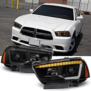 For 2011-14 Dodge Charger Switchback LED Daytime Running Lamp Strip Projector Headlights Black Housing Smoked Lens Sets