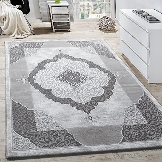 Paco Home Tapis Salon Classique Décoration Abstrait Design Chiné Gris  Anthracite, Dimension:160x230 cm