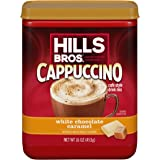 Hills Bros Instant White Chocolate Caramel Decadent Cappuccino Mix, Easy to Use, Enjoy Coffeehouse Flavor from Home, Frothy,