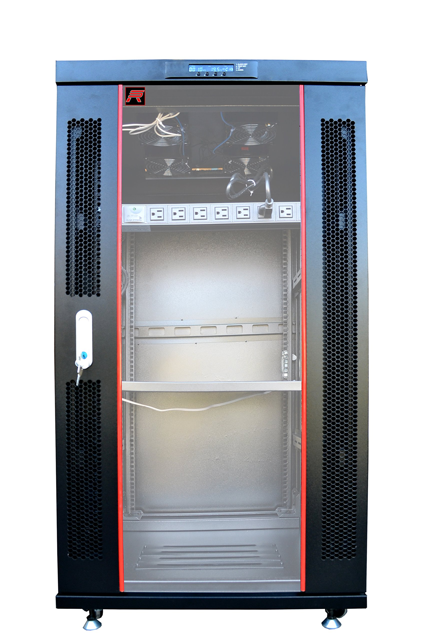 27U 32'' Deep IT Free Standing Server Rack Cabinet Enclosure. Temperature Control System, Casters, LCD-Screen, PDU and Other Accessories Included - Over $ 150 Savings