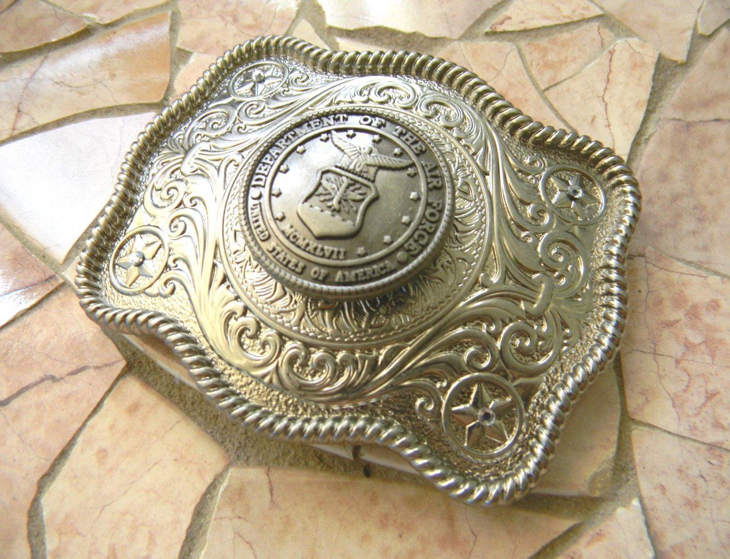 Air Force Silver Belt Buckle, Western Concho Womens Mens Military Belt Buckle, USAF, US Air Force