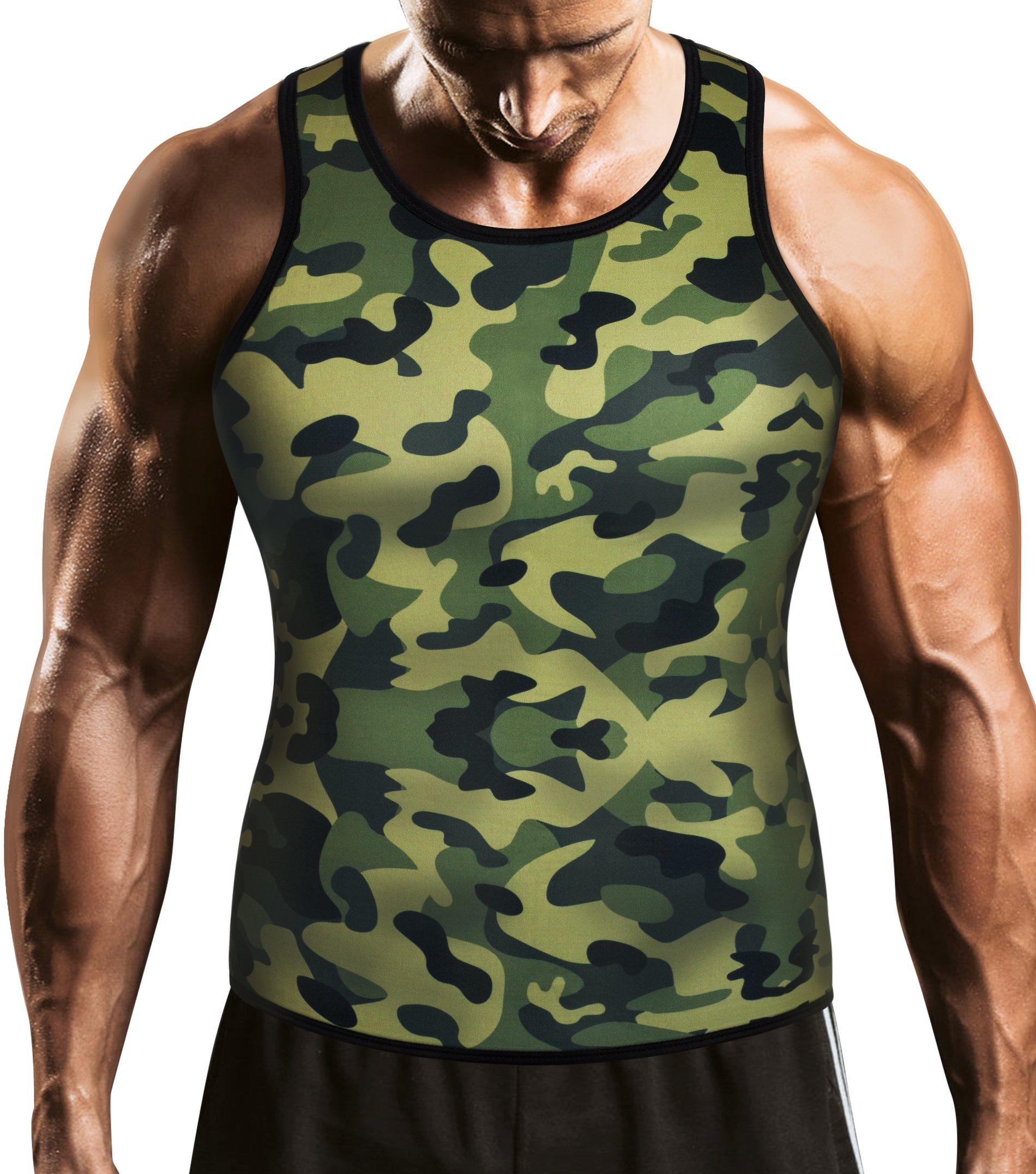 Men Waist Trainer Corset Vest for Weight Loss Hot Neoprene Body Shaper Tank Top Sauna Suit Shirt No Zip Trimmer (4XL, Khaki Camo and Black Inner Sauna Sweat Suits)