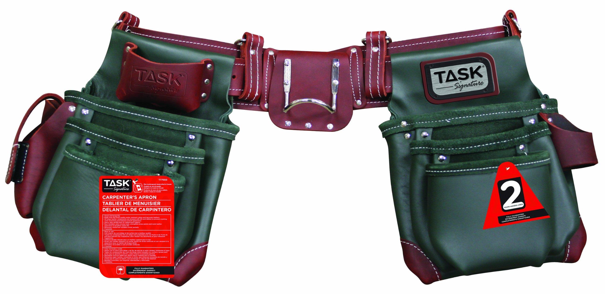 Task Tools T77550 Component Work Belt System, Green and Burgundy, 11-Pocket