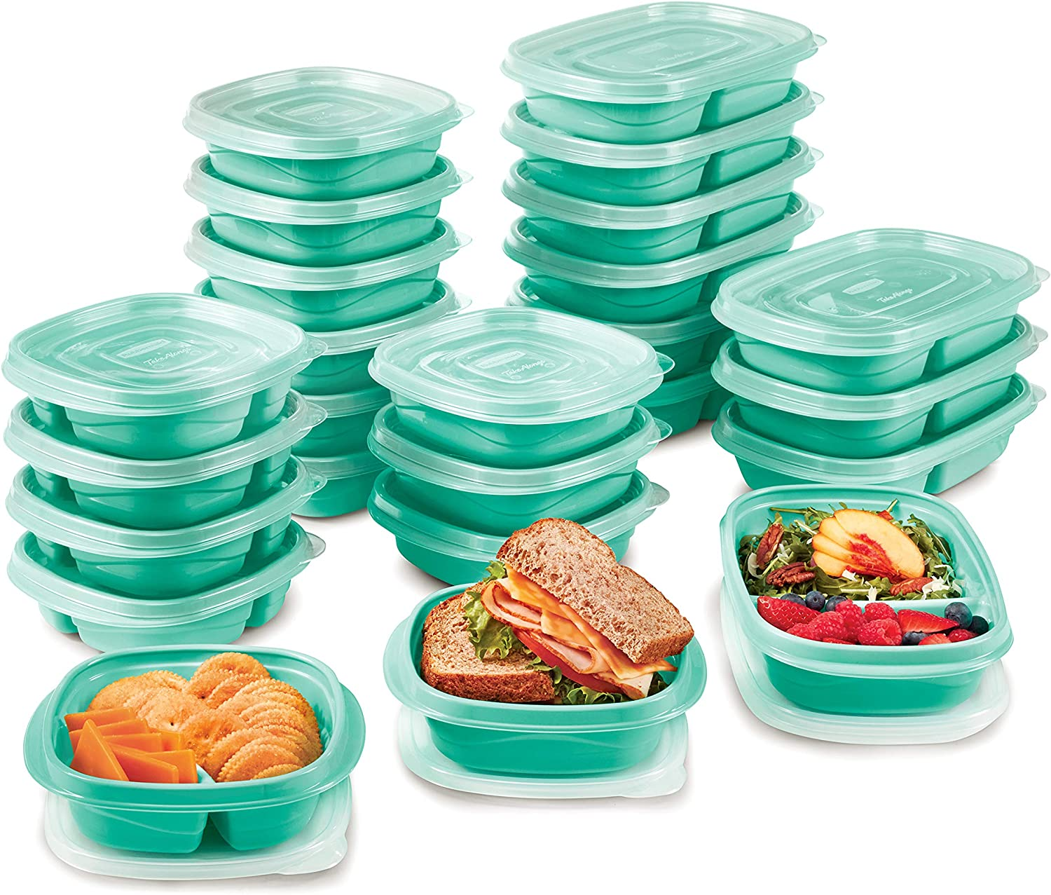 Rubbermaid TakeAlongs On The Go Food Storage and Meal Prep Containers, Set of 25 (50 Pieces Total), Teal Splash