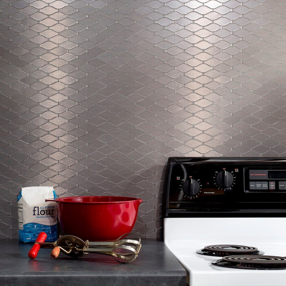 Aspect Peel and Stick Backsplash 6in x 4in Wavelength Stainless Matted Metal Tile for Kitchen and Bathrooms (approx. 15 sq ft Kit)