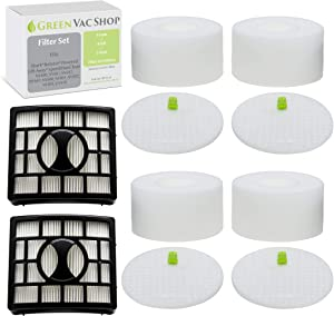 GreenVacShop 4 Foam + 4 Felt + 2 HEPA Replacement Filter Set for Shark Rotator DuoClean Powered Lift Away Speed Vacuum NV680, NV681, NV682, NV683, NV800, NV801, NV803, UV810, Filters XFF680 XHF680