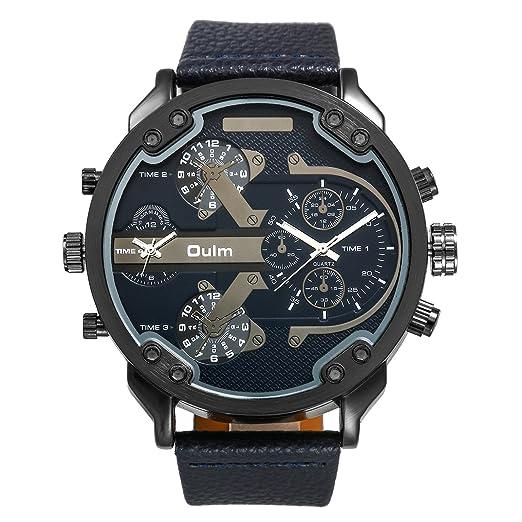 Reloj hombre lancardo reloj pulsera reloj mecánico gráfico dos horarias reloj gran correa piel reloj Hombre pas barato impermeable negro: Amazon.es: Relojes