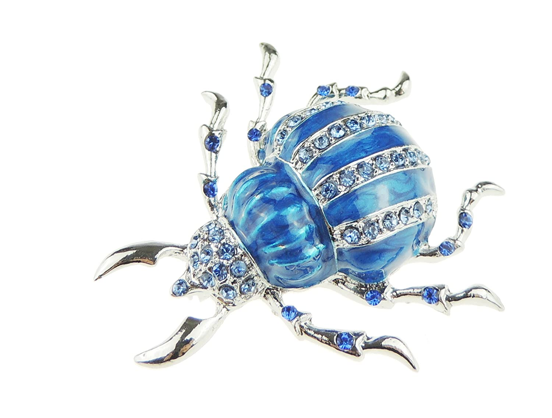 Damen Herren Kristalle shiny Emaille Revers Brosche Blau Insekten K/äfer
