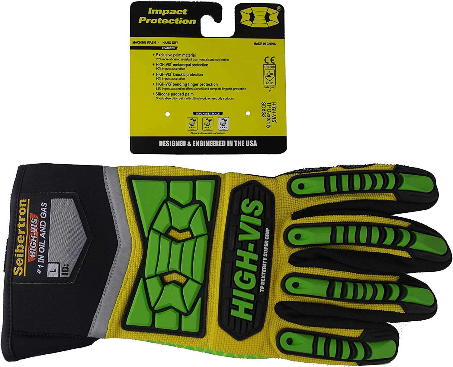 High Visibility Impact//Shock Protection Padded Power Sports//Construction Gloves