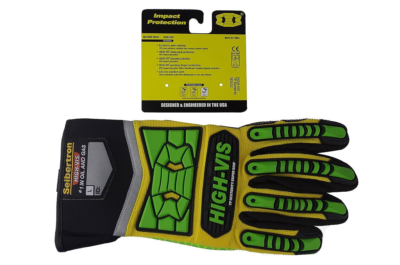 Seibertron HIGH-VIS SDXG2 Dexterity Super Grip GEL Oil & Gas Anti-Vibration Impact Protection Safety Gloves CE EN388 4131 XL