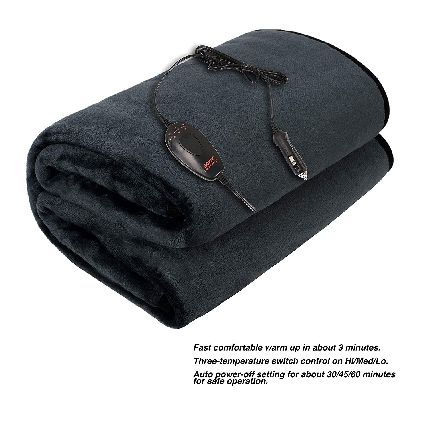 12V Heated Travel Washable Heated Electric Blanket for Car Dark Gray Multiple Time Periods Control and Multiple SJ734R012N Boats or RV with Smart Multifunctional High//Med//Low Temp Truck