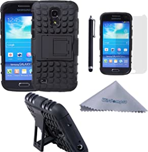 S4 Mini Case, Wisdompro 2 Piece in 1 Dual Layers Heavy Duty Hard Soft Hybrid Rugged Protective Case with Foldable Kickstand for Samsung Galaxy S4 Mini (NOT S4 Fit)