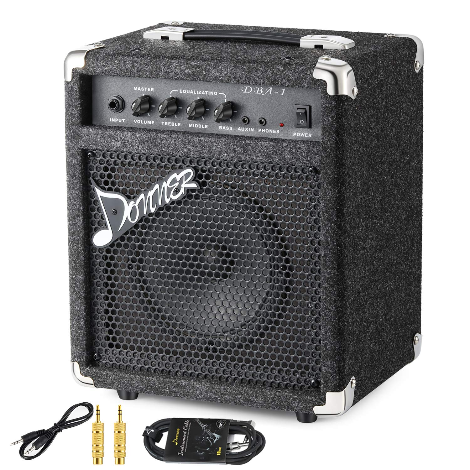 New Donner 15W Bass Guitar Amplifier DBA-1 Electric Bass Combo AMP With Cable