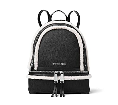 a083f02c0f2d Amazon.com  MICHAEL Michael Kors Rhea Zip Medium Fur Backpack (Signature  Black Shearling Trim)  Shoes