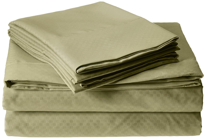 Clara Clark Checkerboard Design Embossed Sheet Set Queen Mocha