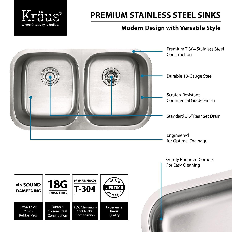 Kraus KBU29 32 Inch Undermount 50/50 Double Bowl 18 Gauge Stainless Steel  Kitchen Sink     Amazon.com