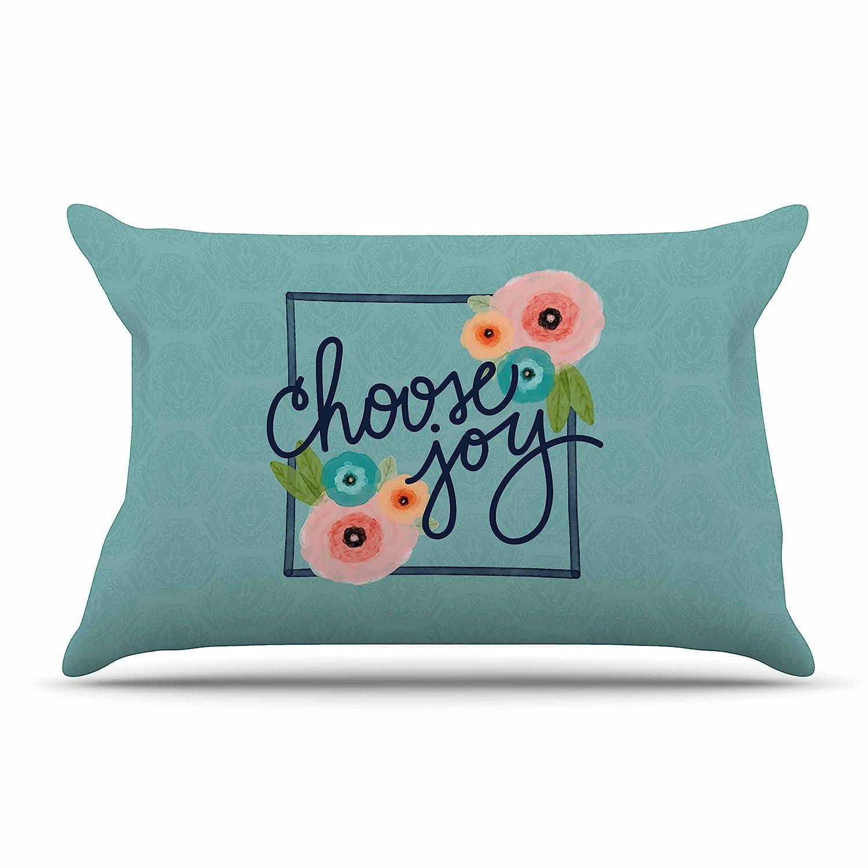 Teal Coral Digital 40 x 20 Pillow Sham Floral Kess InHouse Noonday Design Choose Joy