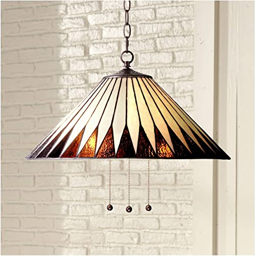Feather Bronze Tiffany Plug in Swag Pendant Chandelier 21 Wide Geometric Art Glass Fixture for Dining Room House Foyer Kitchen Island Entryway Bedroom Living Room – Robert Louis Tiffany