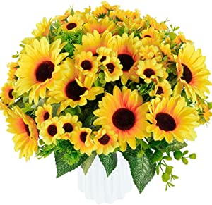 Whonline 4 Bunches Artificial Sunflower Bouquets with Stems Silk Sunflowers Fake Fabric Flowers for Home Decoration Wedding Decor