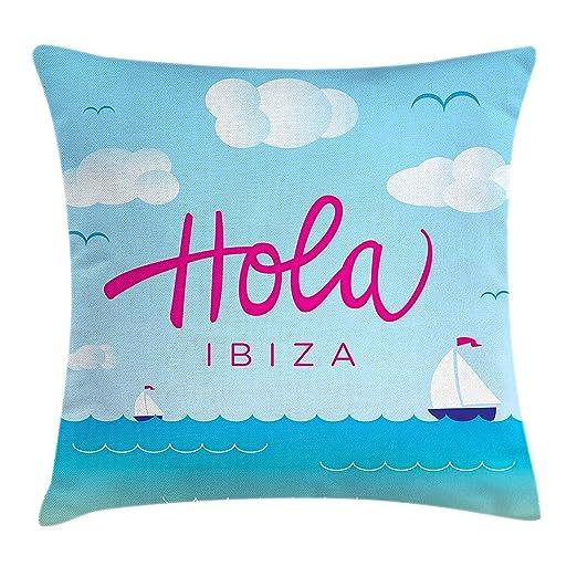 VVIANS Ibiza Throw Pillow Cushion Cover, Hola Ibiza ...