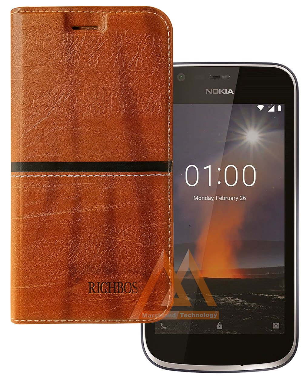 newest d89b1 b0c09 Marshland Leather Inner Soft Silicon Flip Cover Case for Nokia 1 / Nokia  One (Rich Light Brown)