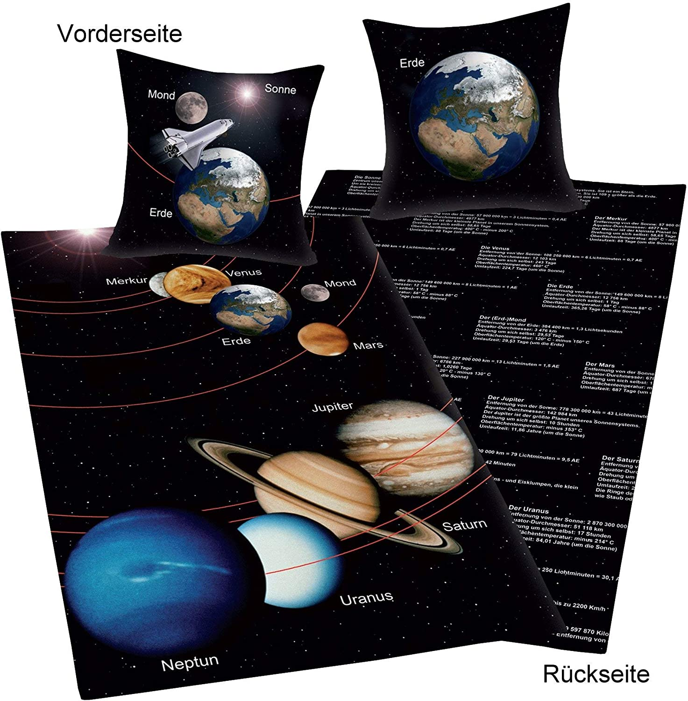 Baumwolle//Renforc/é Kopfkissenbezug 80 x 80 cm Sonnensystem Wendemotiv Herding Young Collection Bettw/äsche-Set Bettbezug 135 x 200 cm