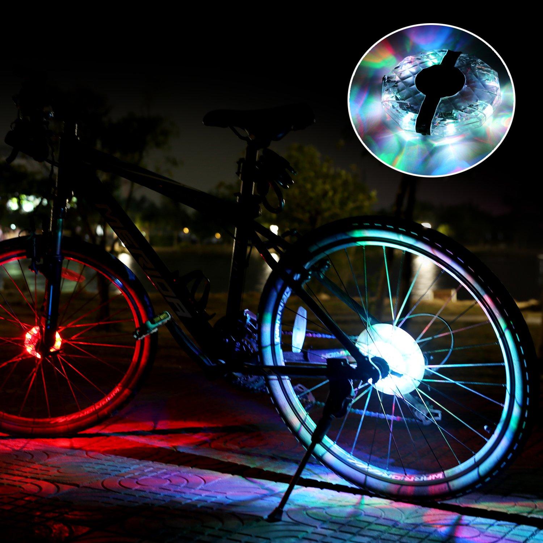 BizoeRade Luci ruota di bicicletta ricaricabile 3/modalit/à luci LED bicicletta ruota colorato impermeabile ciclismo raggio luci per bicicletta anteriore e posteriore decorazione