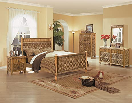 Amazon.com: Tahiti 4 Piece Wicker And Rattan Bedroom Set: Kitchen ...