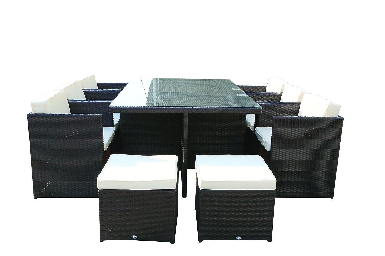 Juego cubo mesa con 10 sedute 6 sillones 4 Puf Polirratán ...