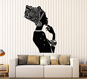 Vinyl Wall Decal African Beauty Woman Ethnic Style Afro Stickers Mural Large Decor (ig3851) Black