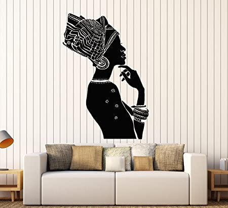 ig3876 Vinyl Wall Decal African Woman Ethnic Style Room Stickers
