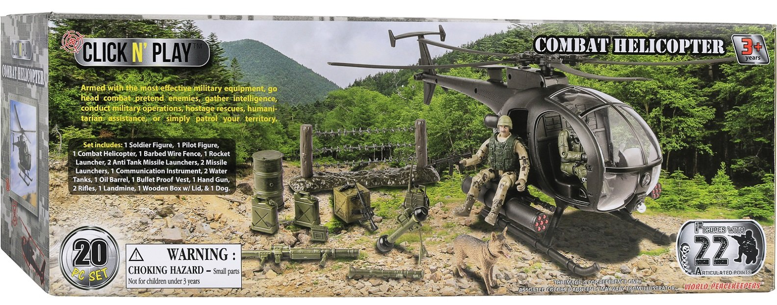 Click N' Play Military Attack Combat Helicopter 20 Piece Play Set With Accessories. by Click N'' Play (Image #5)