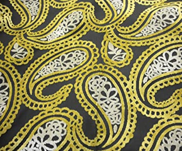 Amazon Com Golden Paisley Embossed Raised Velvet Upholstery Drapery