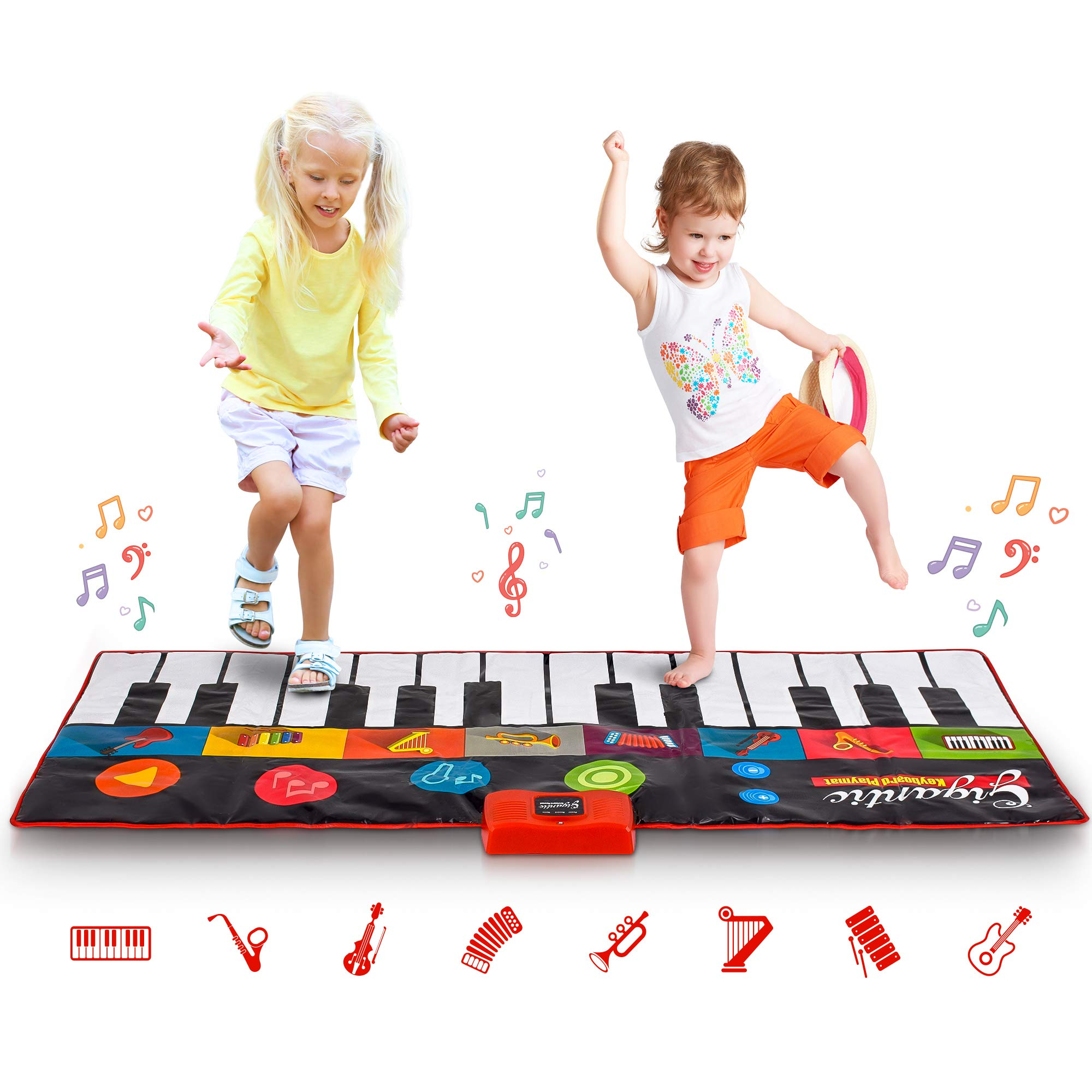 Abco Tech Giant Piano Mat - Jumbo Floor Keyboard with Play, Record, Playback and Demo Modes - New Look - 8 Different Musical Instruments Sound Options - 70in Play Mat - 24 Keys by Abco Tech