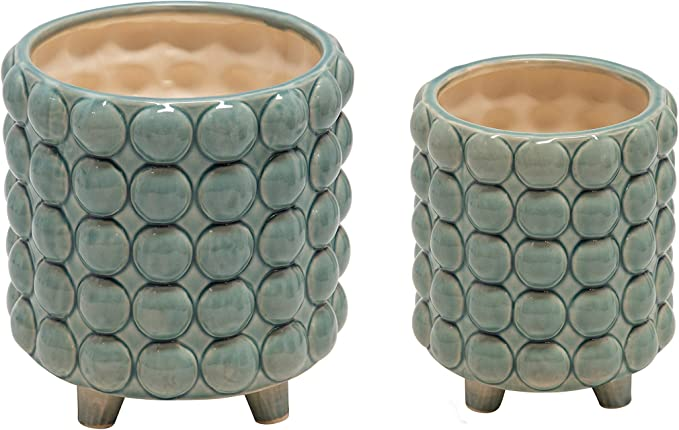 Sagebrook Home 14504 19 Ceramic 6 8 Footed Planter W Bubbles Green Set Of 2 8 X 8 X 8 Home Kitchen Amazon Com