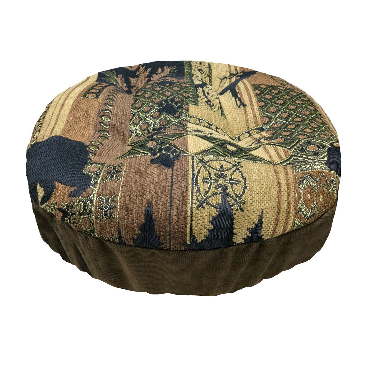 Woodlands Brentwood Round Padded Bar Stool Cover with Adjustable Drawstring Yoke - Size Standard - Latex Foam Fill Barstool Cushion - Made in USA (Gold, Brown, Tan, Gold, Black/Lodge)