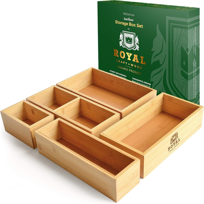 Bamboo Drawer Organizer Storage Box / Bin Set - 5-Piece Multi-Use Drawer Organizer for Kitchen, Bathroom, Office Desk, Makeup, Jewelry