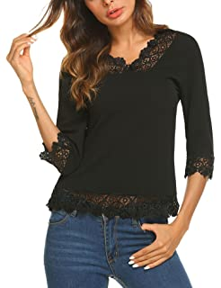f6f12ec27438c Meaneor Women s Lace Splice Shirt Half Sleeve Blouse V Neck Casual Tops