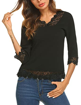 19674fc8445874 Meaneor Women s Lace Splice Shirt Half Sleeve Blouse V Neck Casual ...