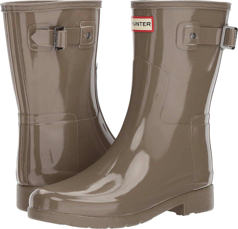 Hunters Boots Women's Original Refined Short Gloss Boots B0792CKXZN 7 B(M) US|Clay