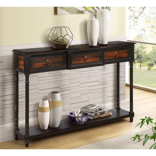 G-house Console Table Sofa Table with Drawers Luxurious and Exquisite Design for Entryway with Projecting Drawers and Long Shelf Expresso